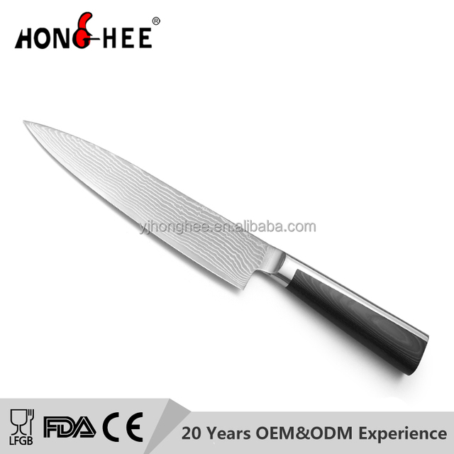 New Design Micarta Handle Durable 8 inch VG-10 Damascus Steel Chef knife