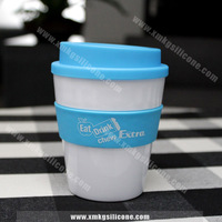 2015 Hot Sale Plastic Coffee Cup With Silicone Sleeve, Heat Resistant Cup For Coffee