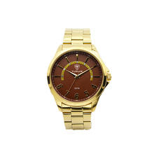 Shining slim stone of half circle quartz wrist gold watches for men
