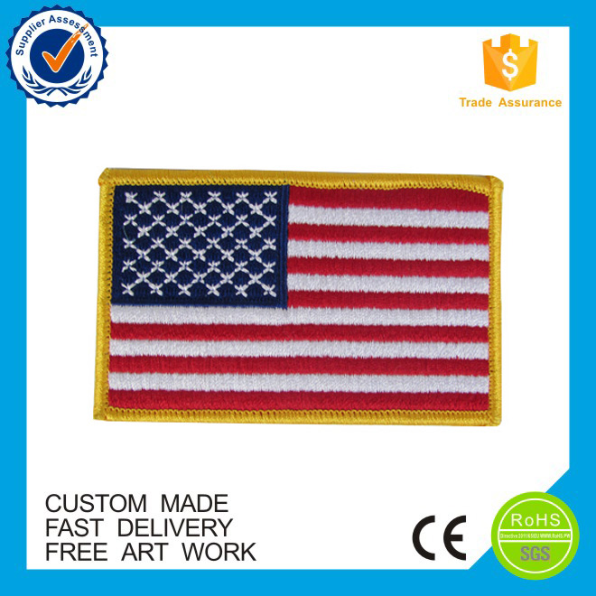 High quality custom American flag embroidered patches