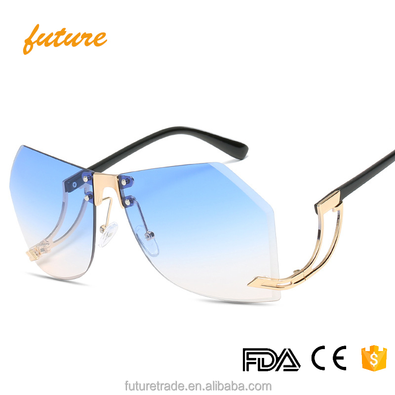 J66124 Future New Europe Rivet Metal Frame Ladies Summer Irregularity Ocean Oversized Rimless Cat 3 UV 400 Sunglasses