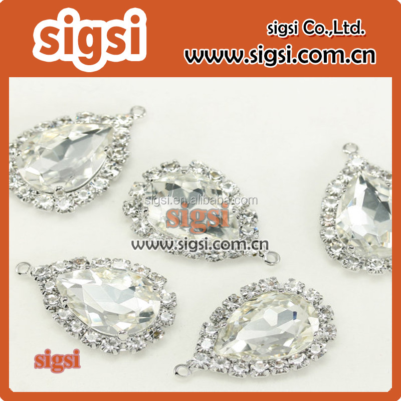 Clear Teardrop Glass Rhinestone Beads Framed Glass Pendants Silver Plated For Earrings Necklace Bracelets Pendants