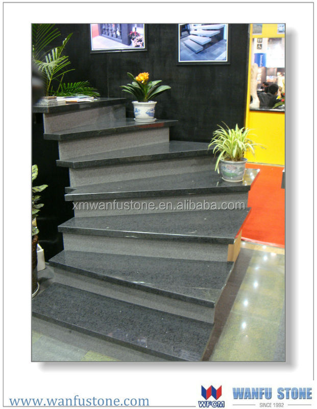 Indoor G654 grey color slate stair step with anti-slip grooves
