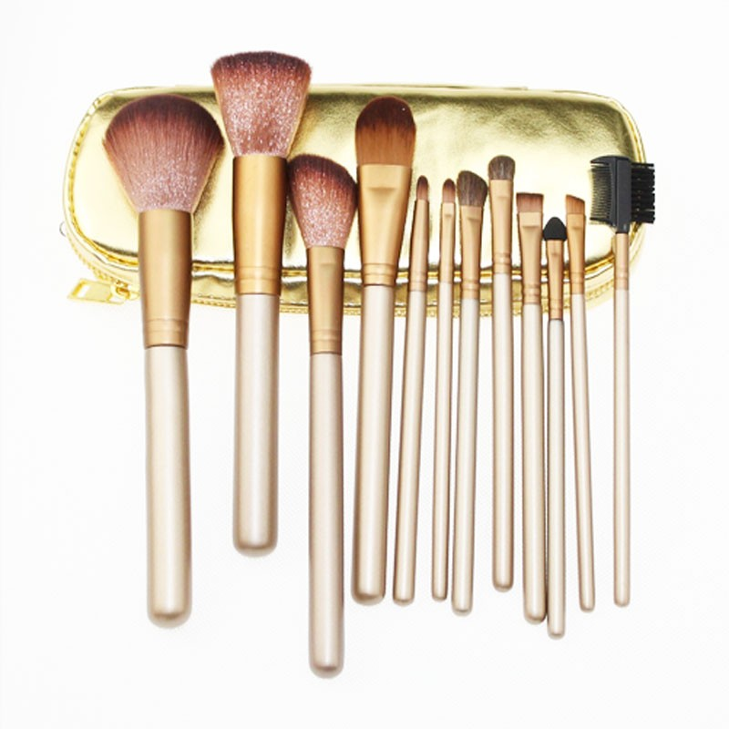 Naked 2 gold custom logo makeup brushes 12pcs brochas maquillaje with zipper bag