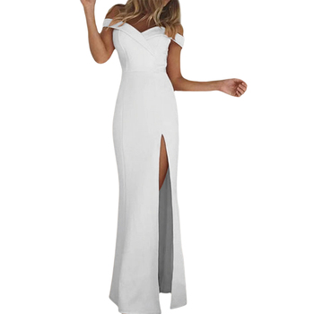 102807 Women Off Shoulder One Piece Long White Sexy Evening Party Dress