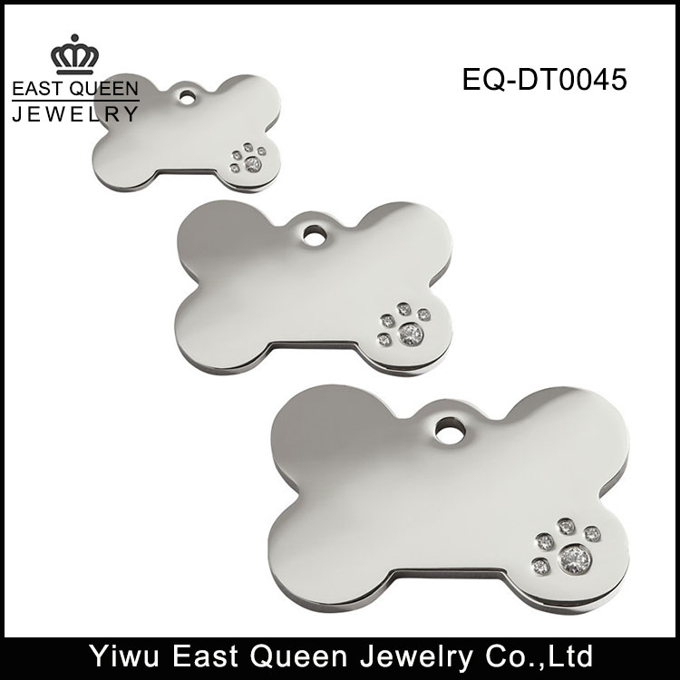 316L Stainless Steel Bone Pet Dog Id Tags With Cubic Zirconia