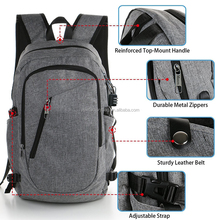 2018 New Arrival High Quality USB Backpack Laptop Backpack with USB Cable