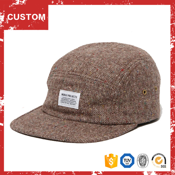 Oem Hat With Woven Label Cheap Custom Tweed 5 Panel Cap