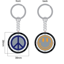 Free design smile face metal keychain custom your own logo