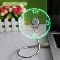 China 2016 new products fancy gift USB clock led electric fan with motor plastic meterial air cooler fan led for desktop, loptop