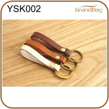 wholesale vintage leather key FOB with copper key ring