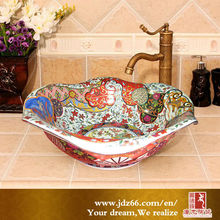 Colorful Flower China Ceramic Hand Wash Leaf Shape Wash Basin