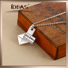 Silver chain envelopes and diamond letters pendant necklace