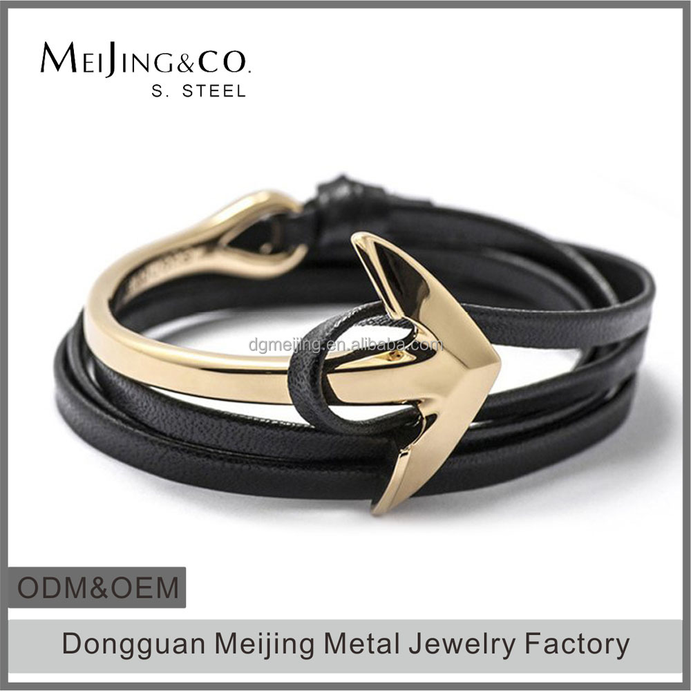 Quality Leather Wrap Custom Anchor Clasp Wholesale Mens Leather Bracelet