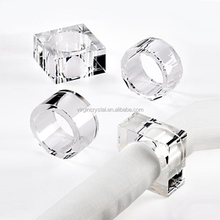 Best selling clear square crystal acrylic napkin ring for wedding table decoration