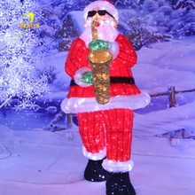 Acrylic Led Santa Claus light with deer light for christmas decoration