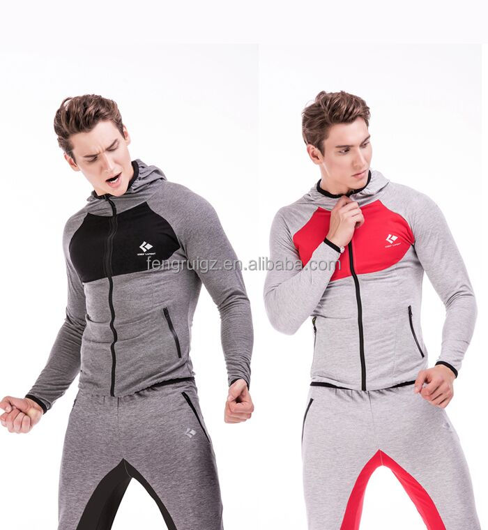 Wholesale high quality customized Zipper-Up hoodies men slim fit suits