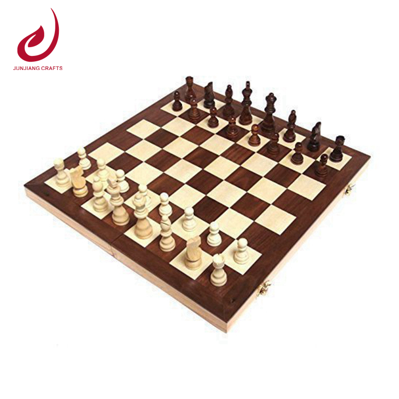 walnut inlaid wooden chess set with hand crafted chess pieces