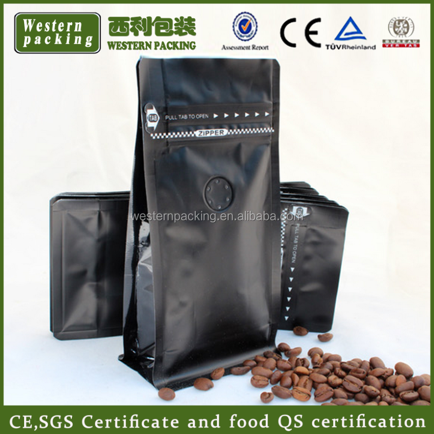 plastic flat bottom coffee beans packaging bag with degassing valve
