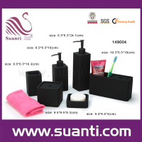 New products 6pcs black polystone hotel bathroom accessories sets
