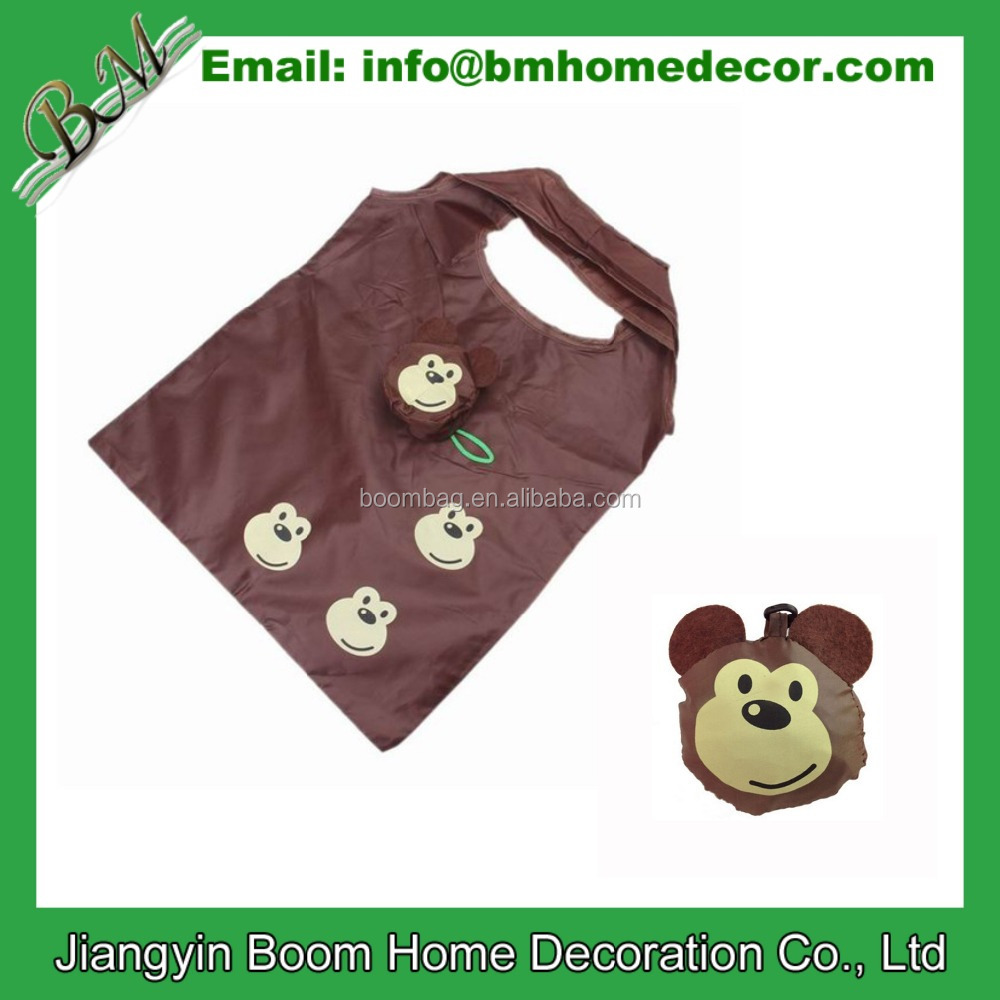 Cheap Promotional Polyester Eco Reusable Monkey Folding Shopping Bag