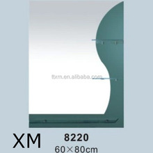 thickness 4mm sanitary mirror glass with shelf bathroom mirror decorative mirror made in china
