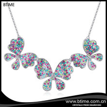 colorful crystal butterfly charm necklace for women