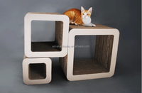 3 in 1 Square shape corrugated Cardboard paper Pet furniture comportable cat scratcher