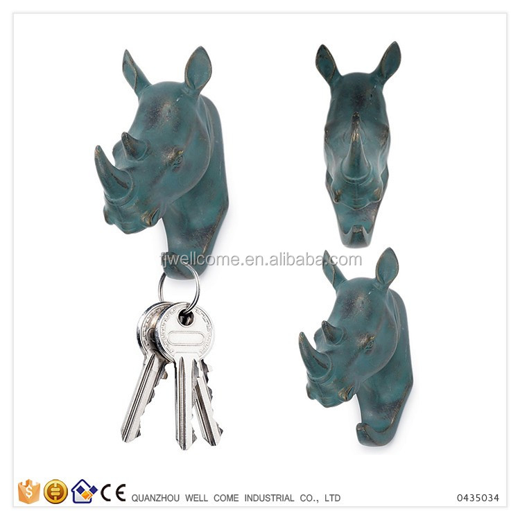 Resin Rhino Wall Animal Head Sculpture for Clothes Hanger