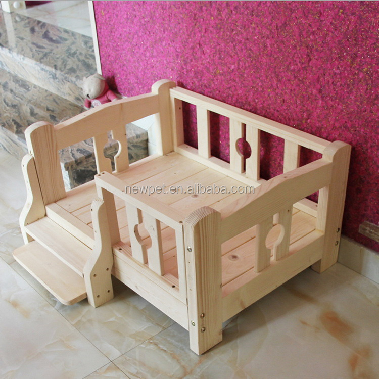 Best quality nice grade solid wooden raised dog bed european style blue wooden dog house