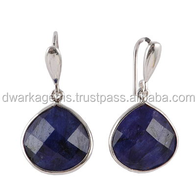 925 Sterling Silver Sapphire Dyed Earrings Dangle