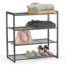 4 Tier Shoe Organizer Free Standing Shoe Rack 25 Inch Shoe Tower Shelf Storage