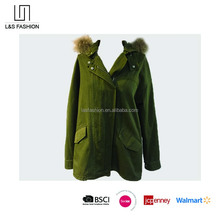 Fashion Army Green Lady Hoodie Jacket for Winter