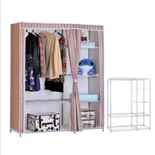 New canvas wardrobe clothes rack with shelves portable closet cabinet