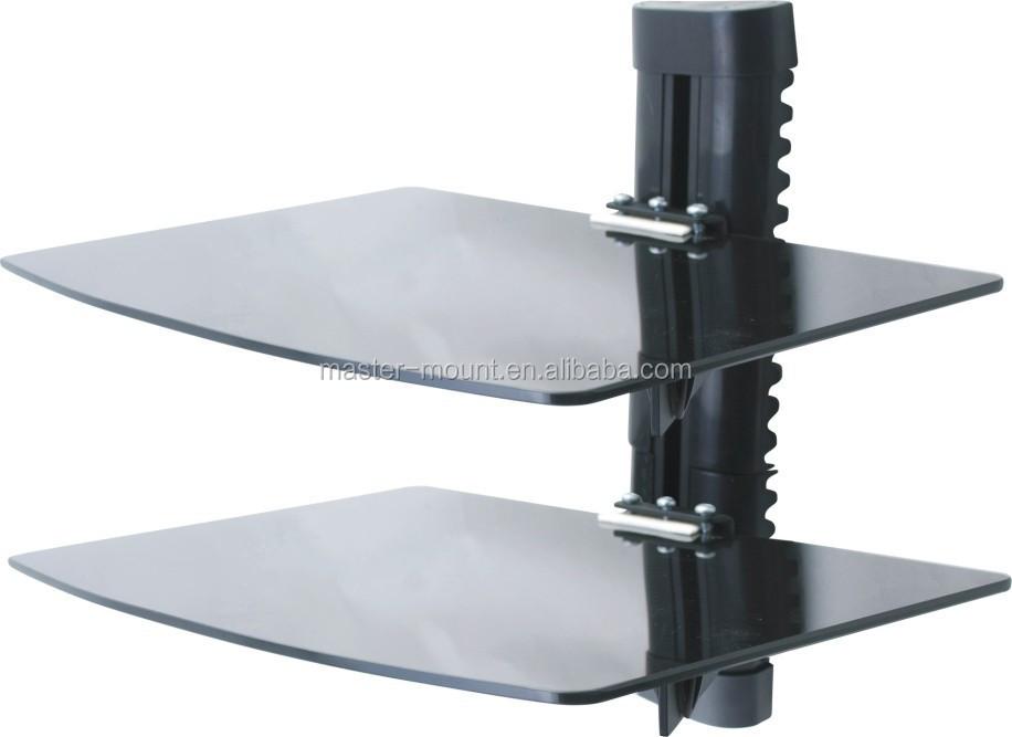 2 tier dual glass dvd wall mount shelf bracket buy. Black Bedroom Furniture Sets. Home Design Ideas