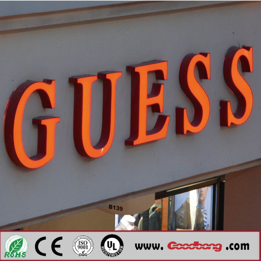 Store front warm color LED plastic letter sign