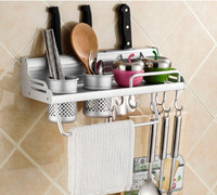 Aluminum wall mounted mental kitchen utensils holder,cans / spice towel rack with hook
