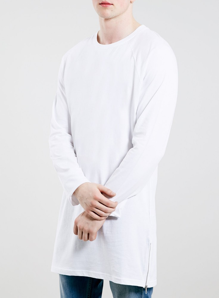 High quality plain white color mens longline t shirt with for High quality mens shirts