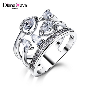 Best Buy! 2017 Royal Design Crown Shape Cubic Zirconia Clear Stones Wedding Ring