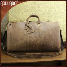 China Guangzhou factory wholesale vintage brown mens leather duffle bags