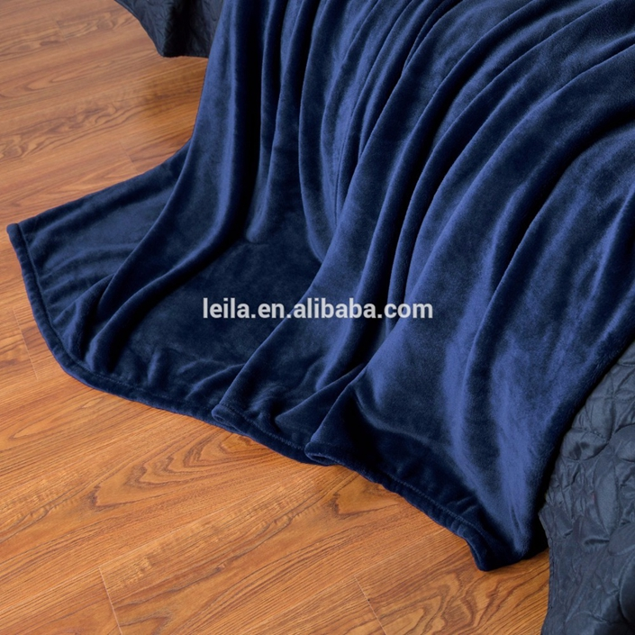 Wholesale high quality plain super soft thick printed coral fleece blanket