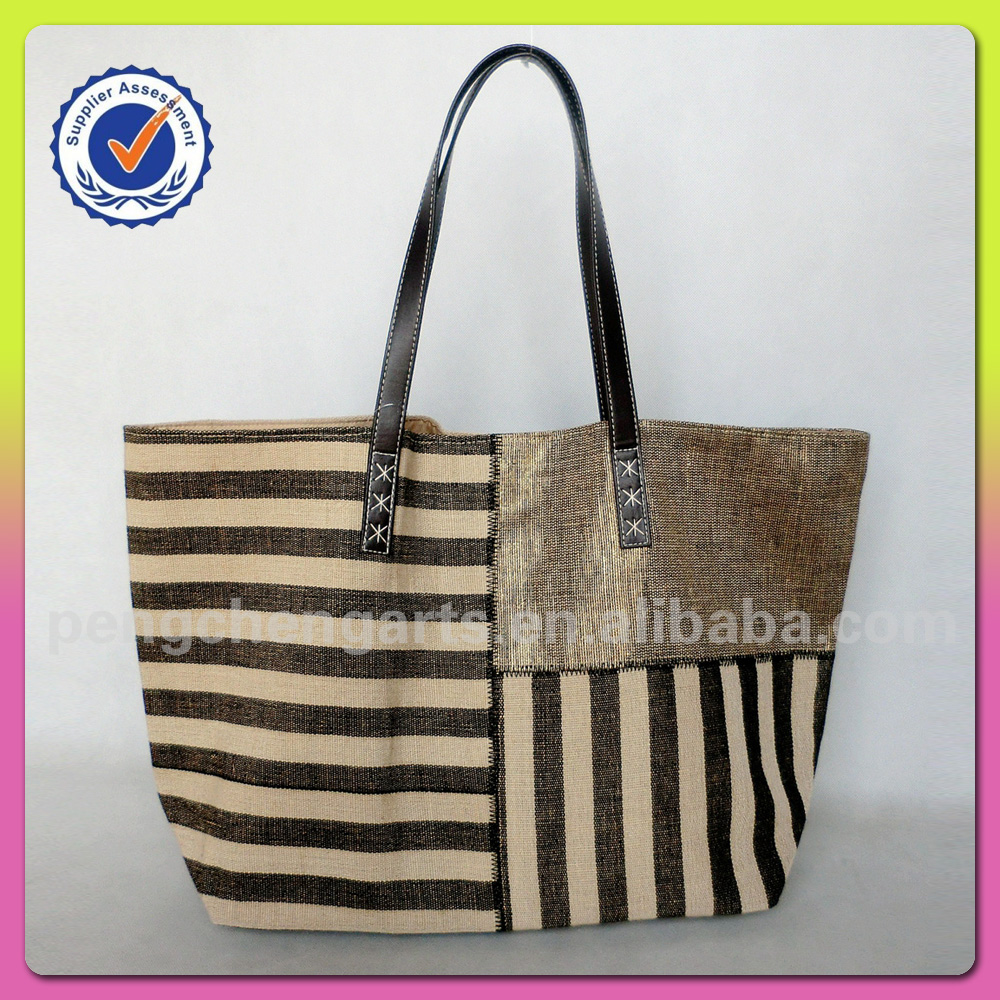Jute material and tote bag lovely and women fashion style high quality cotton handbag