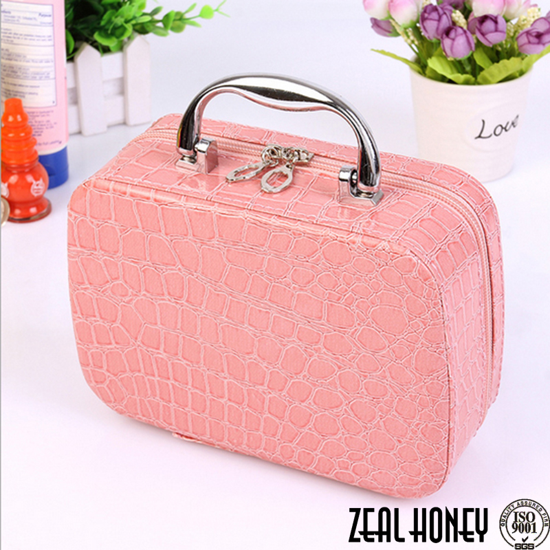 Zealhoney New Arrival Pink Crocodile Cosmetic Bag Makeup Suitcase