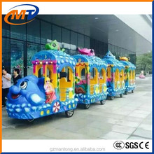 Mantong Amusement funfair children game machine/ electric adult ride train set Apple worm train ride