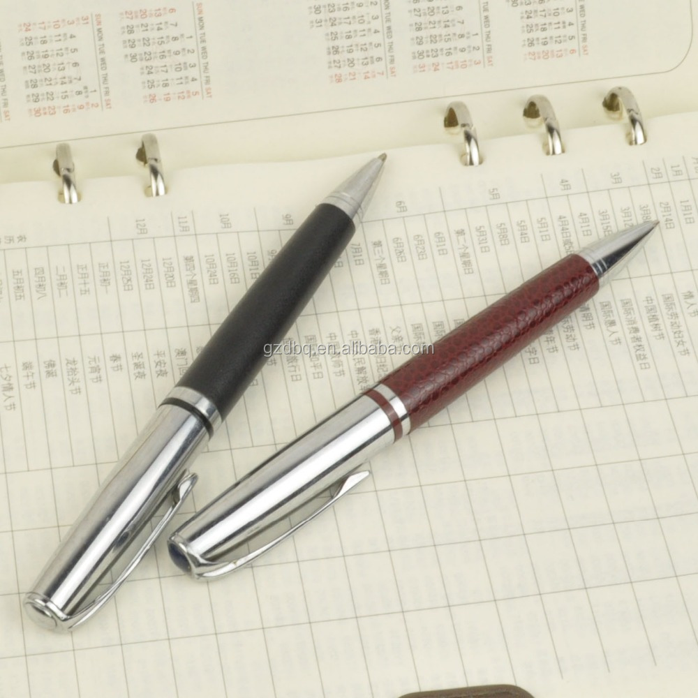 Eco-friendly leather marking promotional metal ball pen
