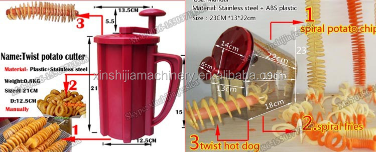 manual stainless steel spiral potato chip slicer machine