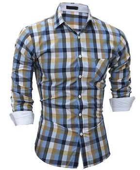 2017 New style Europe and America polyester cotton material pointed collar plaids shirts wear in Spring and Autumn