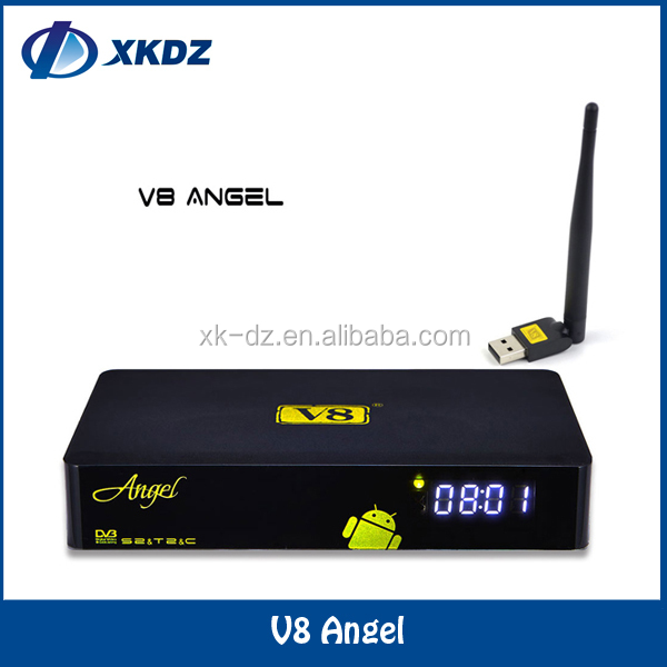 Freesat V8 angel dvb-s2 dvb-t2 android 4k <strong>satellite</strong> receiver digicable catv set top box cccam cline support