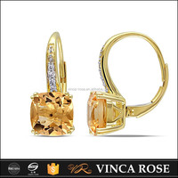 Fashion single natural square shaped yellow citrine stone 585 gold earring