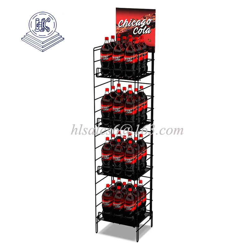 Retail Store Metal 4 Shelf Beverage Floor Display